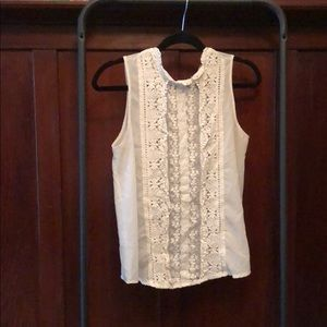 Cream lace high neck top